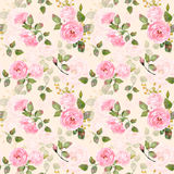 Seamless pattern of watercolor pink roses. Stock Photo