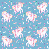 Seamless pattern with watercolor pink unicorn in tutu, feathers and confetti Stock Photos