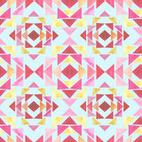 Seamless Pattern with Watercolor Pink And Yellow Triangles on Light Blue Background Stock Image