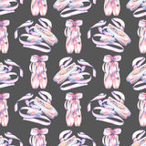 Seamless pattern with watercolor pointe shoes. Hand drawn isolated on a dark background Stock Photography