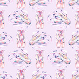 Seamless pattern with watercolor pointe shoes. Hand drawn isolated on a light purple background Stock Image