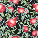 Seamless pattern with watercolor pomegranates (garnets) Royalty Free Stock Photography