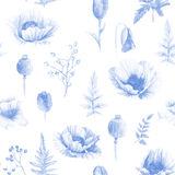 Seamless pattern of watercolor poppies. Royalty Free Stock Photos