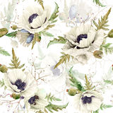Seamless pattern of watercolor poppies. Stock Photography