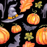 Seamless pattern watercolor pumpkins, hat abd bats royalty free stock photography