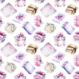Seamless pattern with watercolor purple and pink gift boxes Stock Images