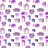Seamless pattern with watercolor purple and pink gift boxes Royalty Free Stock Photography