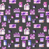 Seamless pattern with watercolor purple and pink gift boxes Stock Image