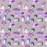 Seamless pattern with watercolor purple and pink gift boxes Stock Photo