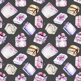 Seamless pattern with watercolor purple and pink gift boxes Royalty Free Stock Photo