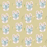 Seamless pattern with watercolor rabbits with books and flowers Stock Photography