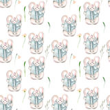 Seamless pattern with watercolor rabbits with books and flowers Royalty Free Stock Image