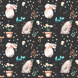 Seamless pattern with watercolor rabbits, floral elements and flowers in a pots Stock Photos
