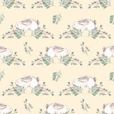 Seamless pattern with watercolor rabbits and green branches Royalty Free Stock Photos
