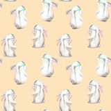 Seamless pattern with watercolor rabbits in nightcaps Royalty Free Stock Photo
