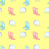 Seamless pattern with watercolor rain elements: rain cloud and rubber boots. Hand drawn isolated on a yellow background royalty free illustration