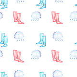 Seamless pattern with watercolor rain elements: rain cloud and rubber boots. Hand drawn on a white background royalty free illustration