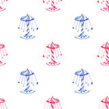 Seamless pattern with watercolor red and blue carousel from the amusement park Royalty Free Stock Images