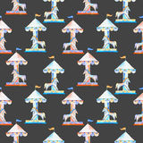 Seamless pattern with watercolor red and blue carousel with horses from the amusement park Royalty Free Stock Image