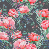 A seamless pattern with the watercolor red peonies, berries, leaves and branches Royalty Free Stock Photos