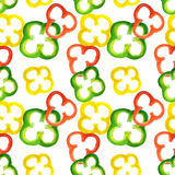 Seamless pattern with watercolor red, yellow and green pepper rings Stock Image