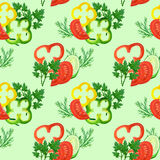 Seamless pattern with watercolor red, yellow, green pepper rings, tomatoes, cucumbers and greens Stock Photo