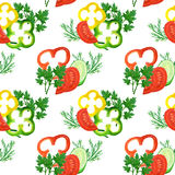 Seamless pattern with watercolor red, yellow, green pepper rings, tomatoes, cucumbers and greens Royalty Free Stock Images
