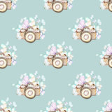 Seamless pattern with watercolor retro cameras and butterflies Royalty Free Stock Images