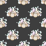 Seamless pattern with watercolor retro cameras and butterflies Royalty Free Stock Photos