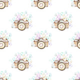 Seamless pattern with watercolor retro cameras and butterflies Stock Image