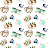 Seamless pattern with watercolor retro cameras and films Royalty Free Stock Photo