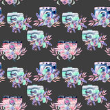 Seamless pattern with watercolor retro cameras in floral decor Stock Image