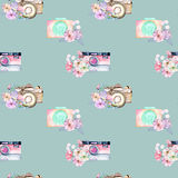 Seamless pattern with watercolor retro cameras in floral decor Royalty Free Stock Images