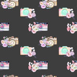 Seamless pattern with watercolor retro cameras in floral decor Royalty Free Stock Photo