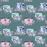 Seamless pattern with watercolor retro cameras Royalty Free Stock Images