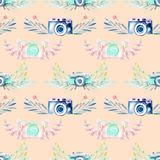 Seamless pattern with watercolor retro cameras in floral decor Royalty Free Stock Photography