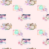 Seamless pattern with watercolor retro cameras in floral decor Stock Photo