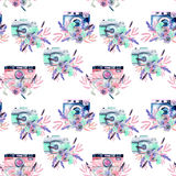 Seamless pattern with watercolor retro cameras in floral decor Royalty Free Stock Photos