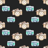Seamless pattern with watercolor retro cameras Stock Images