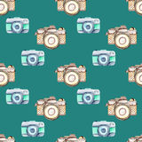 Seamless pattern with watercolor retro cameras Royalty Free Stock Photo