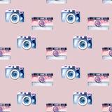 Seamless pattern with watercolor retro cameras Stock Photos
