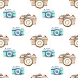 Seamless pattern with watercolor retro cameras Stock Photography