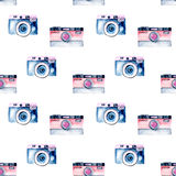 Seamless pattern with watercolor retro cameras Stock Image