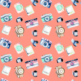 Seamless pattern with watercolor retro cameras, snapshots and films Royalty Free Stock Photography