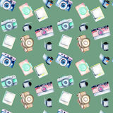 Seamless pattern with watercolor retro cameras, snapshots and films Stock Photo