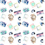 Seamless pattern with watercolor retro cameras, snapshots and films Stock Images