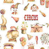 A seamless pattern with the watercolor retro circus elements Stock Image