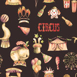 A seamless pattern with the watercolor retro circus elements Royalty Free Stock Photos