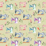 Seamless pattern with watercolor retro sewing machines and floral elements. Hand drawn isolated on a grey background Royalty Free Stock Photos