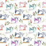 Seamless pattern with watercolor retro sewing machines and floral elements. Hand drawn isolated on a white background Stock Photography